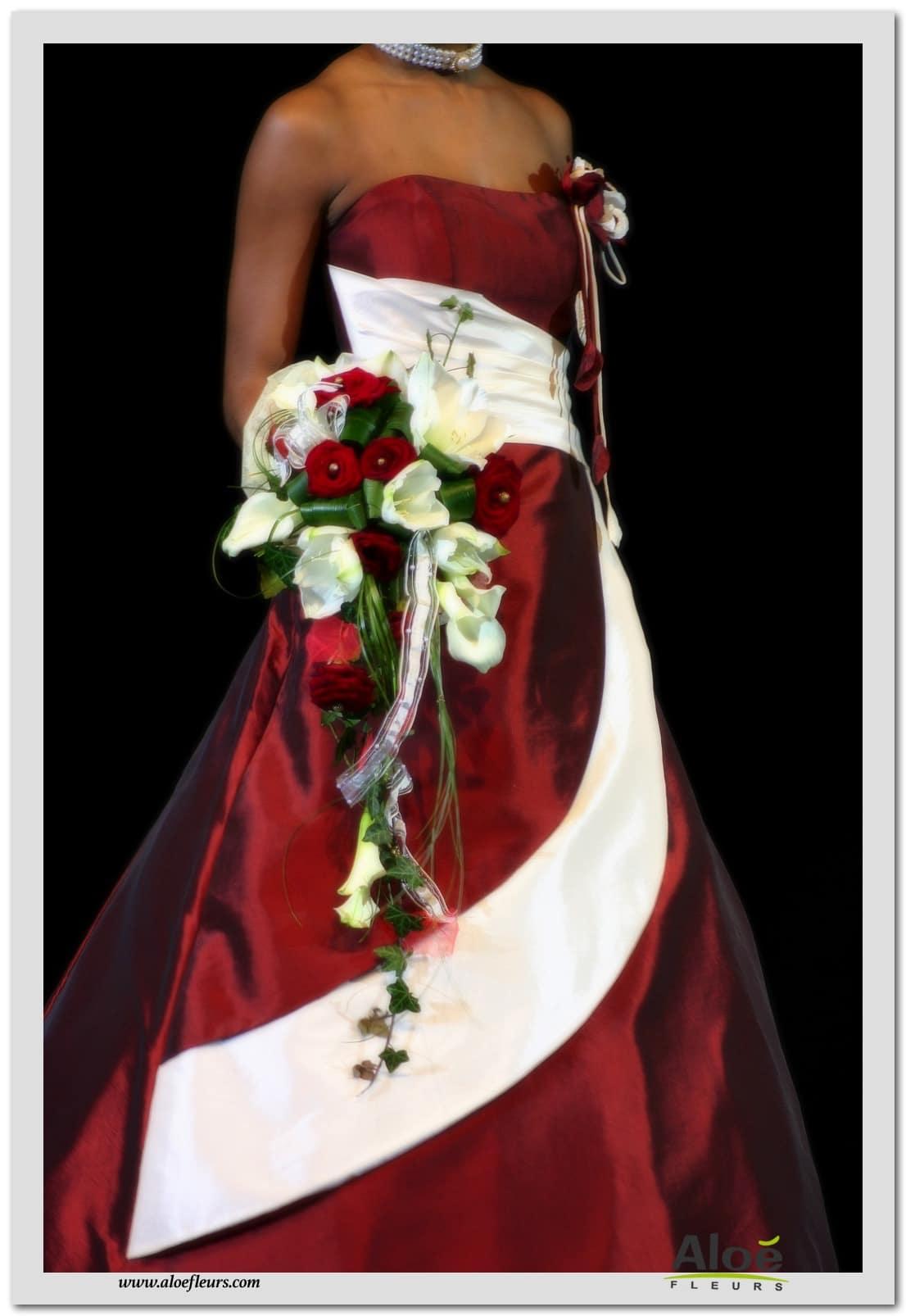 10 bouquet mari e cascade roses amaryllis arum blanc et rouge aloe fleurs. Black Bedroom Furniture Sets. Home Design Ideas