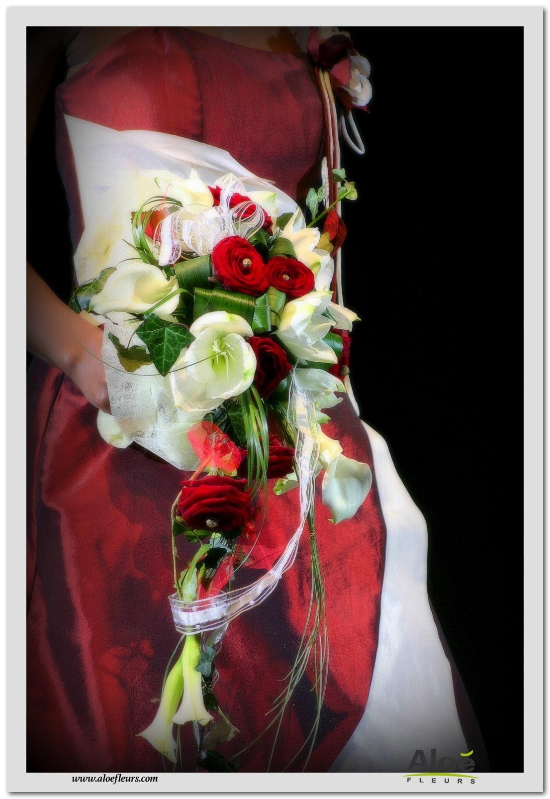 11 bouquet mari e cascade roses amaryllis arum blanc et for Amaryllis en bouquet