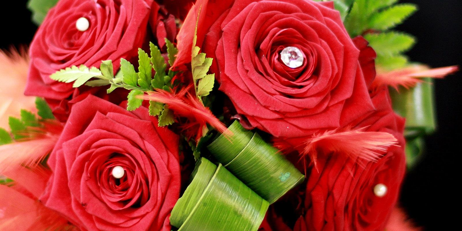 bouquet de mariee cascade rouge blanc orchidees plumes aloe fleurs. Black Bedroom Furniture Sets. Home Design Ideas
