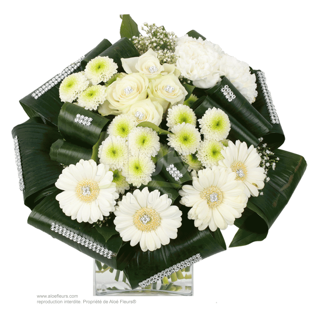 Bouquet Rond Blanc & Strass