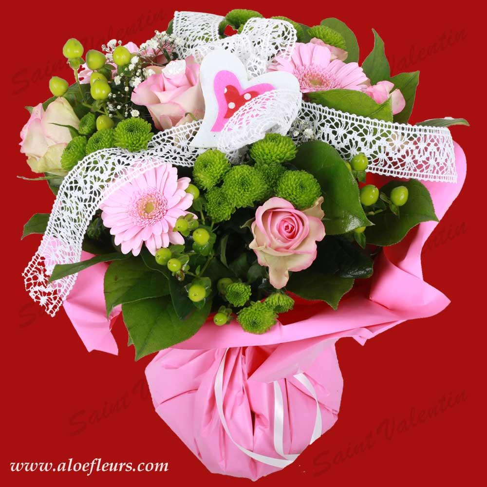 Bouquet saint valentin coeur rose aloe fleurs - Bouquet de rose saint valentin ...