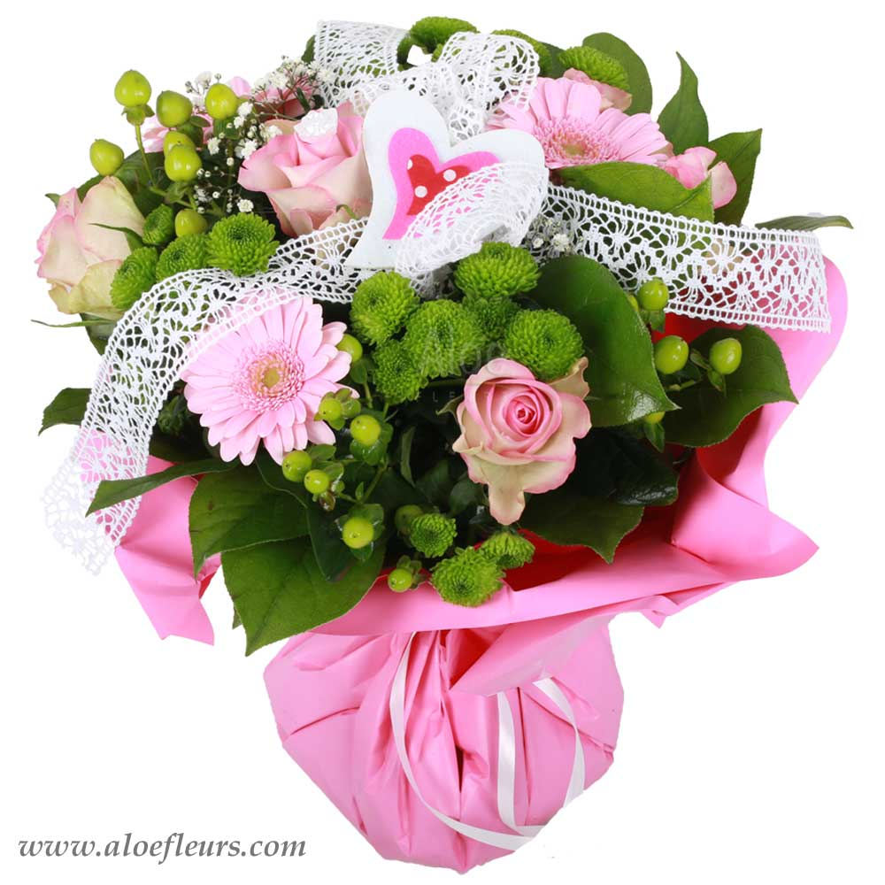 bouquet saint valentin coeur rose aloe fleurs. Black Bedroom Furniture Sets. Home Design Ideas