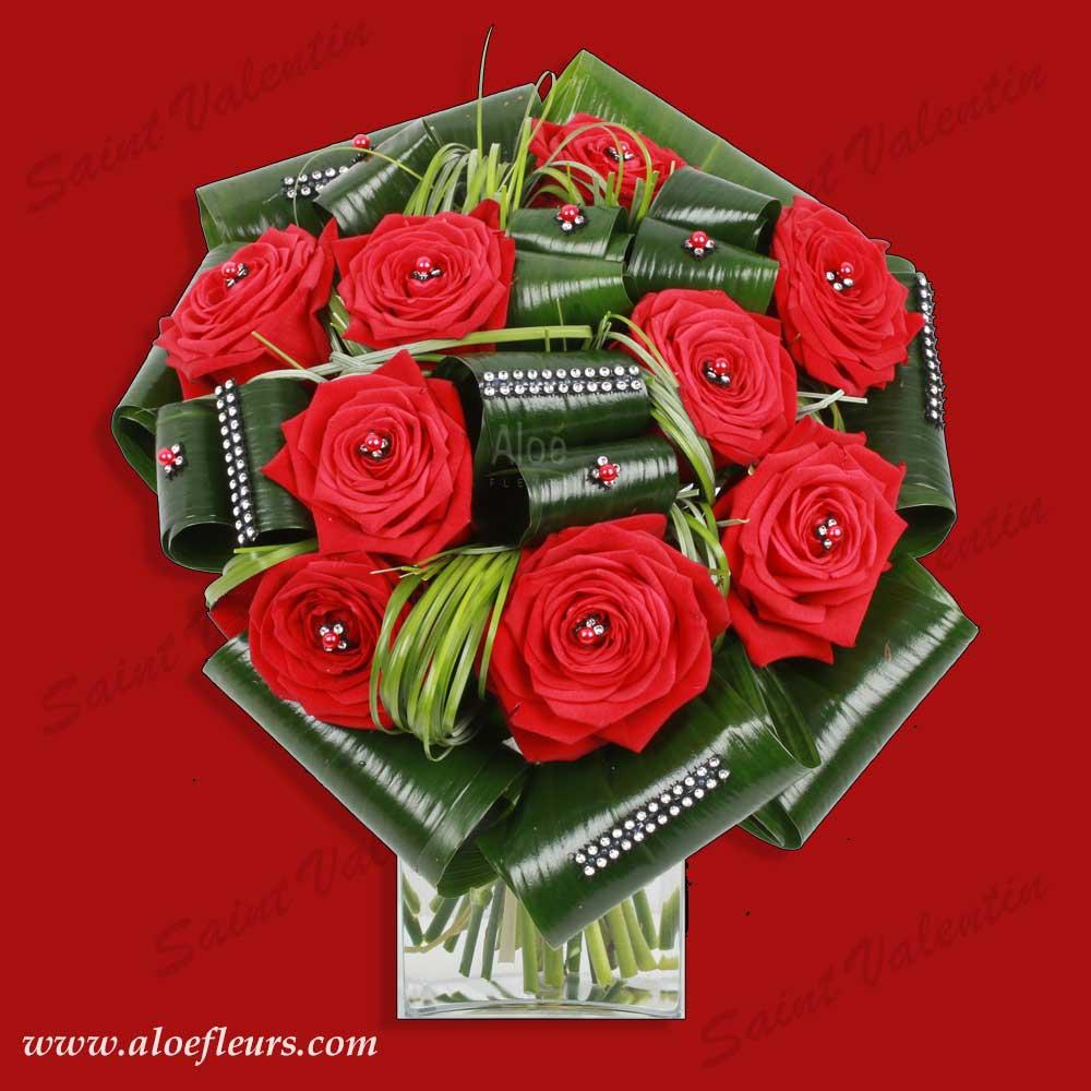 Bouquet saint valentin roses rubis aloe for Bouquet saint valentin