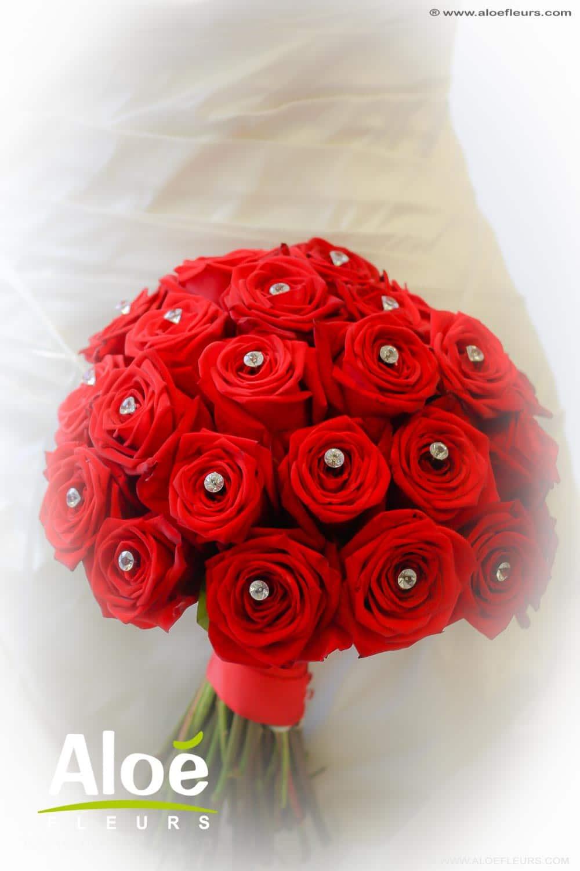 bouquet de mariée glamour roses rouge