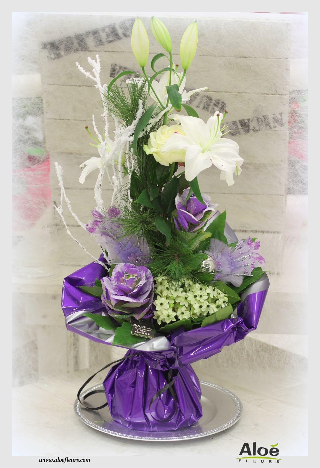 bouquet bulle d 39 eau d coration florale de noel alo fleurs5 aloe fleurs. Black Bedroom Furniture Sets. Home Design Ideas
