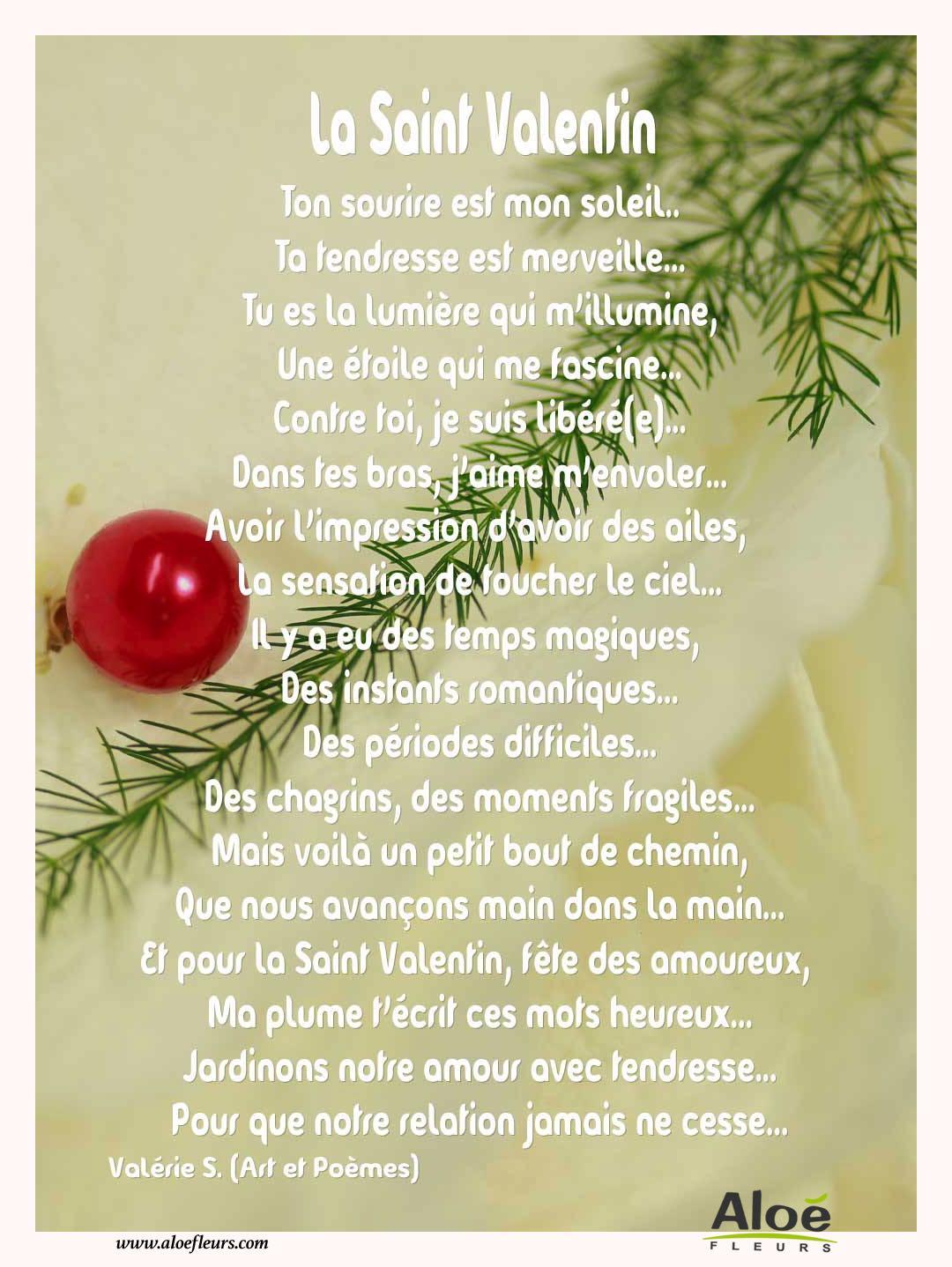 Citations d 39 amour et saint valentin la saint valentin 8 aloe fleurs - Poeme d amour pour la saint valentin ...
