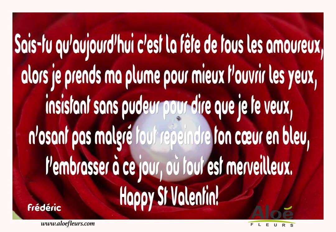 Citations d 39 amour et saint valentin sais tu qu 39 aujourd 39 hui c 39 est la f te aloe fleurs - Poeme d amour pour la saint valentin ...