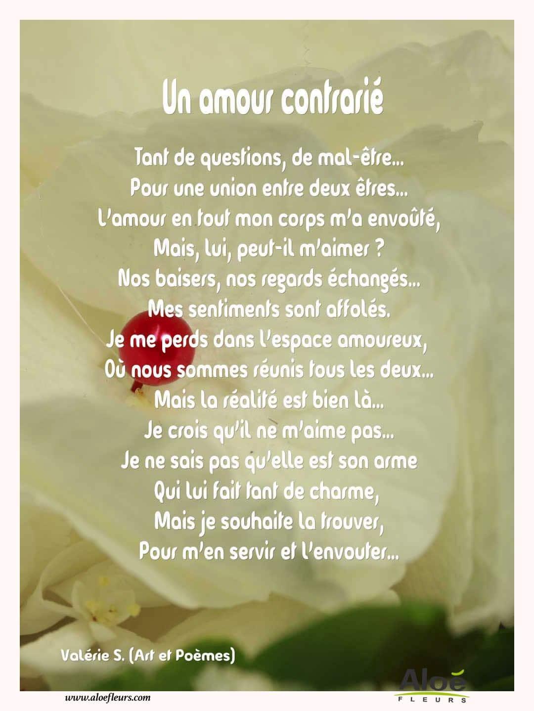 Citations d 39 amour et saint valentin un amour contrari aloe fleurs - Poeme d amour pour la saint valentin ...