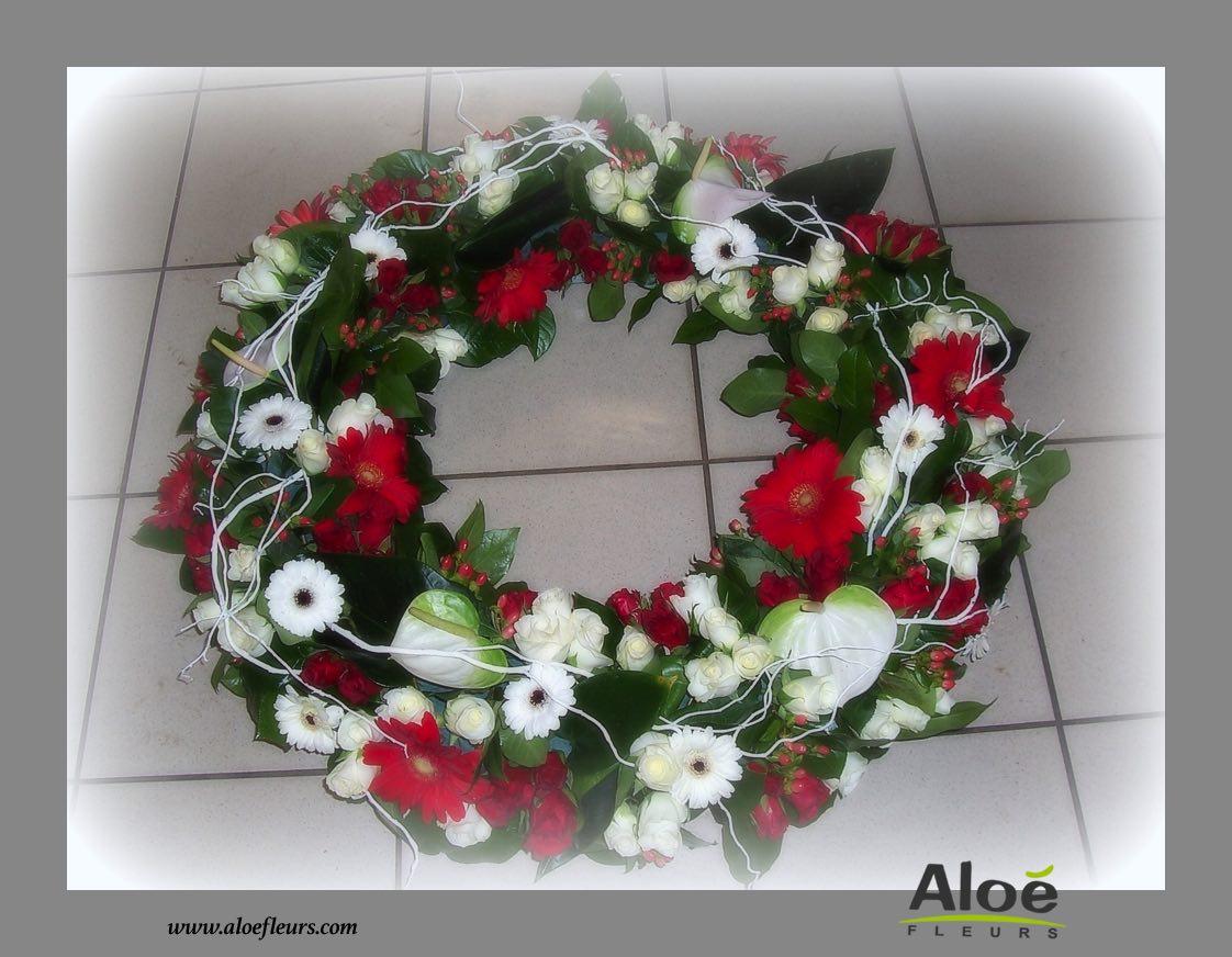 composition florale deuil couronne 2 aloe fleurs. Black Bedroom Furniture Sets. Home Design Ideas