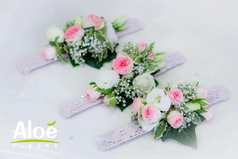 Bracelet floraux romantique pour demoiselle d'honneur mariage