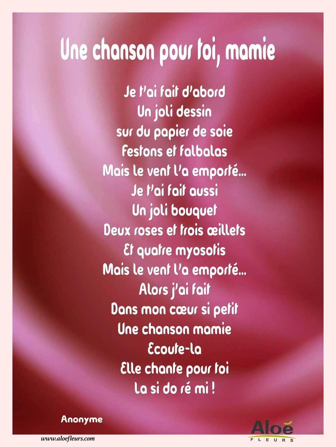 Poemes Fete Des Grands Meres 2016 Aloefleurscom Une
